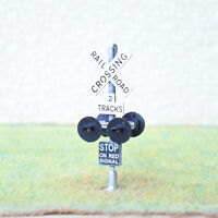 1 x HO scale railroad crossing signals 2 tracks sign LED made 4 target face #SL