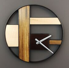 Modern Wall Clock, Zebrawood, Figured Maple, Wall Art Decor, Minimalist Clock
