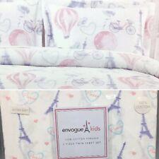 5pc Envogue Paris Eiffel Tower TWIN Comforter Sheet Set Balloon Pink Purple Aqua
