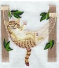 CAT KITTEN IN HAMMOCK BATH HAND KITCHEN NEW TOWELS EMBROIDERED BY LAURA