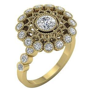 Anniversary Ring I1 G 3.15 Ct Natural Diamond Solitaire Milgrain 14K Yellow Gold
