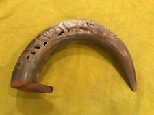 Curved Bone / Horn Carved with Elephants on Wood Plynth