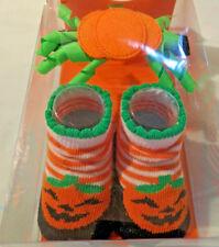 Little Me Halloween Booties Fancy headwrap Pumpkin 0 - 12 Months Infant Socks