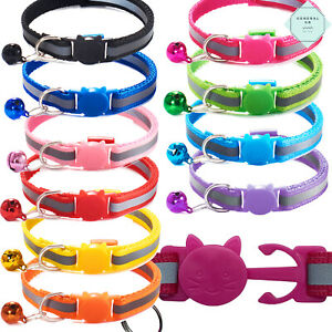 Cat Collar Quick Release Reflective Kitten Breakaway Safety Adjustable with Bell