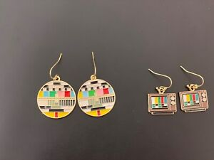 Retro vintage tv signal television 📺 novelty funky quirky dangle  earrings