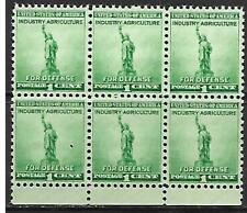 US Scott #899 US postage stamp Statue of Liberty 1¢ WWII 1940 Block of 6 MNH