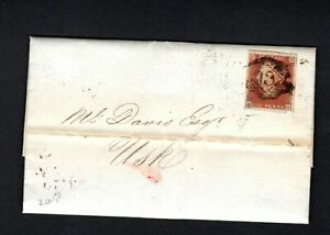 GB QV 1850 1d Red imperf 4m entire London to USK