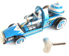 BLUE SPACE RACER Tin Astronaut Driver Race Stock Jet Car Toy