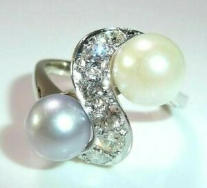 Ring 585 White Gold 1.00 CT Diamonds +2 Akoya-Pearls Size: 58-59 Changeable
