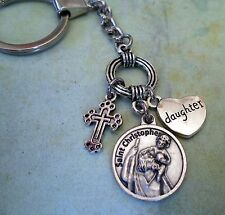 Daughter Keychain, St Christopher, Travel Protection, Patron Saint of Travelers