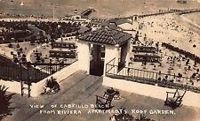 RPPC View of Cabrillo Beach, Riviera apartments Roof Garden California~111652