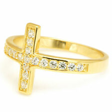 13mm Fabulous18ct Gold Plated Solid Sterling Silver Cross Ring Size 7 Luxury
