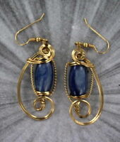 Kyanite Gemstone Earrings in 14kt Rolled Gold Settings  Wire Wrapped