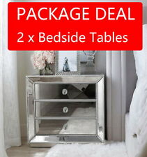 2 x SILVER Beaded Mirrored Bedside Tables Nightstand 3 Drawer Mirror Furniture