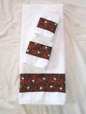 Bath Hand Towel Wash Cloth Halloween White Black Orange Spider Web 3 Pc Set