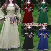 Long Maxi Dress Vintage Flare Sleeve Party Medieval Renaissance Women Dresses