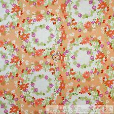 BonEful Fabric Cotton Quilt Orange White Purple Flower Girl Garden Dot NEW SCRAP