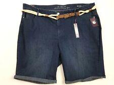 NWT Size 24 Women's Denim Jean Bermuda Shorts With Belt NEW