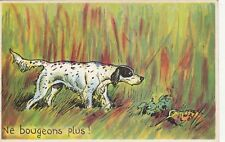 Carte postale HUMORISTIQUE HUMOUR CHASSE CHASSEUR bécasse chien à l'arrêt