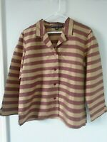 SHIRT TOP BLOUSE ~ 10 ~ 100% SILK ~ BURGUNDY & GOLD STRIPED ~ JOSEPHINE CHAUS