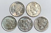 Lot of 5 Cull 1922-1935 $1 Silver Peace Dollars, Mixed Dates & Mint Marks