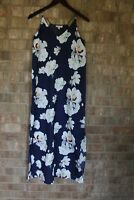 Elaine Rose Women's Long Navy Blue Floral Printed Summer Maxi Dress Size 0|Small