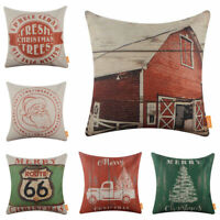 Farmhouse Christmas Cushion Cover Retro Season Decor Xmas Gift Throw Pillow Case