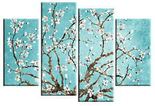 DUCK EGG BLUE BLOSSOM TREE FLORAL CANVAS PICTURE SPLIT MULTI 4 PANEL rdy to hang