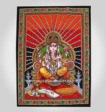 Indien Seigneur Ganesha Mur Suspendu Coton Couvre-Lit Tapisserie Affiche Taille