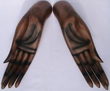 Wooden Hands of Buddha Pair 33cm size handcarved in Thailand Fair Trade