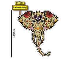 "Day of the Dead Elephant 4"" Sugar Decal Sticker Dia De Los Muertos Elefante DOD3"