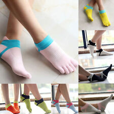 Women Cotton Sports Five Finger Socks Casual Toe Breathable Ankle Socks 8Colors