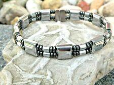 Silver & Black Magnetic Hematite Bracelet Anklet Handmade USA