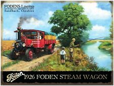 1926 Foden Steam Engine Wagon Classic/Vintage, Fly Fishing, Small Metal Tin Sign