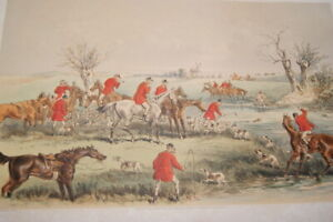 GRAVURE COULEURS ANGLAISE  PRINT CHASSE A COURRE BROWNE 1863 CHEVAUX CHIENS
