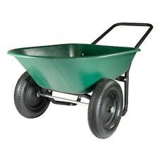 Marathon Wheelbarrow Landscaping Equip Dual Wheel Poly Tray Yard Rover Garden