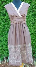 Sangria Brown Embroidered Crocheted Lace Trim Tank Dress Petite Women's Size 8P