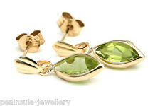 9ct Gold Peridot Drop Marquise Earrings Made in UK, Gift Boxed Birthday Gift