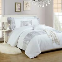 White Silver Duvet Quilt Cover Bed Set With Pillow Shams Shimmer Sequin Diamante