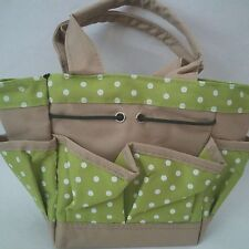 Canvas bag for crafts- Adorable small handle pokadots