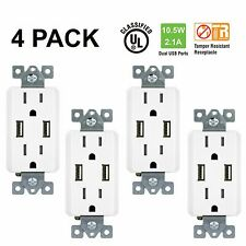 4 Pack TOPGREENER Electrical Wall Outlet with USB Charger 15A Receptacle White