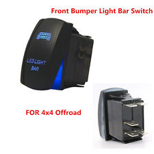 Laser Rocker Switch Backlit Car Front Bumper Light Bar Blue 5Pins On-Off 20A