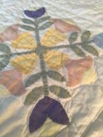 "Vintage Hand Quilted Amish Style TULIP Patchwork Applique Quilt 79"" x 80 Qvvv"