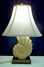 """NAUTILUS Ceramic Table Lamp Pale Green 3 Dimensional Mid Size 22"""" High"""
