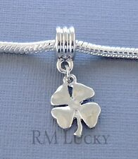 Dangle FOUR LEAF Clover fit European Charm Bracelet. St. Patrick's Day C73