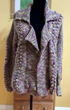 HAND KNITTED MULTICOLOUR WOOL CARDIGAN BOBBLES SIZE 12