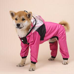 Pet Dog Waterproof Vest Jacket Clothes Four Seasons Hooded Raincoat 4-Feet UK