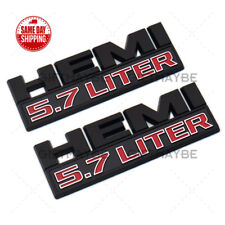 2pcs Hemi 5.7 Liter Side Fender Emblem Badges 3D Decal for Ram 1500 Black Red