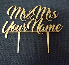 Laser Cut Wooden Cake Topper - Personalised Wedding Topper - Mr & Mrs Surname