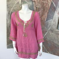 Pink Green Embroidered Tunic Blouse Boho 3/4 Sleeve Top Size Medium